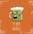 cartoon funky green beer glass character vector image
