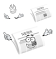 Cartoon happy newspaper icon character vector image vector image