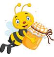 cartoon little bee holding honey jar vector image vector image