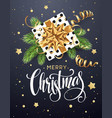 christmas background with gift box with gold bow vector image vector image