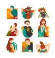 collection cheerful people looking out vector image vector image