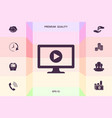 computer with play button icon graphic elements vector image vector image