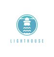 Concept logo template with lighthouse in flat vector image