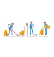 female janitor mopping the floor vector image