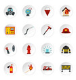 fireman tools set flat icons vector image vector image