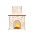 fireplace with long chimney paved in stone icon vector image vector image