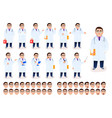 flat male doctor character set on white background vector image