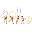 flat people holding 2019 new year numbers vector image vector image
