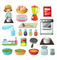Food and kitchenware vector image vector image