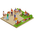 freelancer day isometric compositon vector image