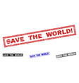 grunge save the world exclamation scratched vector image vector image