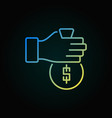 hand giving money concept colored icon vector image vector image