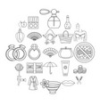 interest of woman icons set outline style vector image
