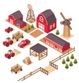 isometric farm elements vector image