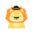 lion in a black bowler hat funny face cute vector image vector image