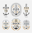 nautical label anchor no 19 set 02 vector image vector image