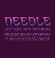 needle letters and numbers with currency signs vector image vector image