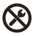no repair symbol prohibition sign vector image vector image