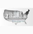 paper art of travel winter and snow season of map vector image vector image