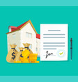 real estate contract or property mortgage loan vector image