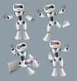 realistic white robot in different poses vector image vector image