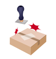 Rubber Stamp with A Brown Cardboard Box vector image vector image