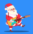 santa claus dancing with guitar in hands vector image