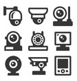 security camera icons set on white background vector image