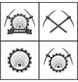 Set Emblem of Mining Industry vector image vector image