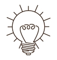 silhouette light bulb flat icon in sun shape vector image vector image