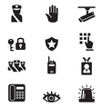 Silhouette security icons set vector image vector image