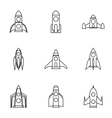 Space rocket icons set outline style vector image vector image