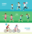 sports design health concept people exercise set vector image vector image