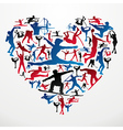 Sports silhouettes heart vector image vector image