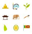 sri lanka icons set flat style vector image vector image