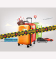stay home concept travel baggage and different vector image