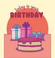 sweet cake birthday and gifts kawaii style vector image