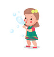 sweet cartoon little girl playing with soap vector image vector image