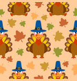 thanksgiving seamless background with turkey vector image
