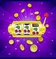 three cherry signs on slot machine display banner vector image