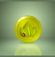 three yellow style leaves with ladybird icon for vector image