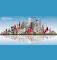 vietnam city skyline with gray buildings blue sky vector image vector image