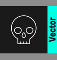 white line human skull icon isolated on black vector image vector image
