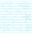 Striped seamless pattern with sea life vector image