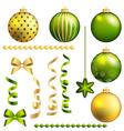 Christmas decorative ball and ribbon set vector image
