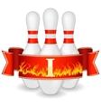 Bowling pins with ribbon vector image