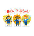 back to school pupils group sitting at desk vector image