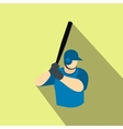 Baseball player flat icon vector image