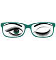beautiful womens green eyes with glasses vector image vector image