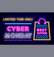 big sale on cyber monday best offer on neon board vector image
